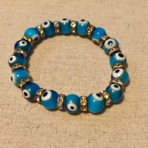 Jewelry - Blue & White Evil Eye Stretch Bracelet-New